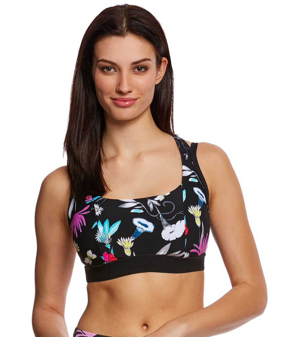 69b73c7c74 Seafolly Women s Flower Festival Sports Bra Top (D-DD Cup) at  SwimOutlet.com - Free Shipping