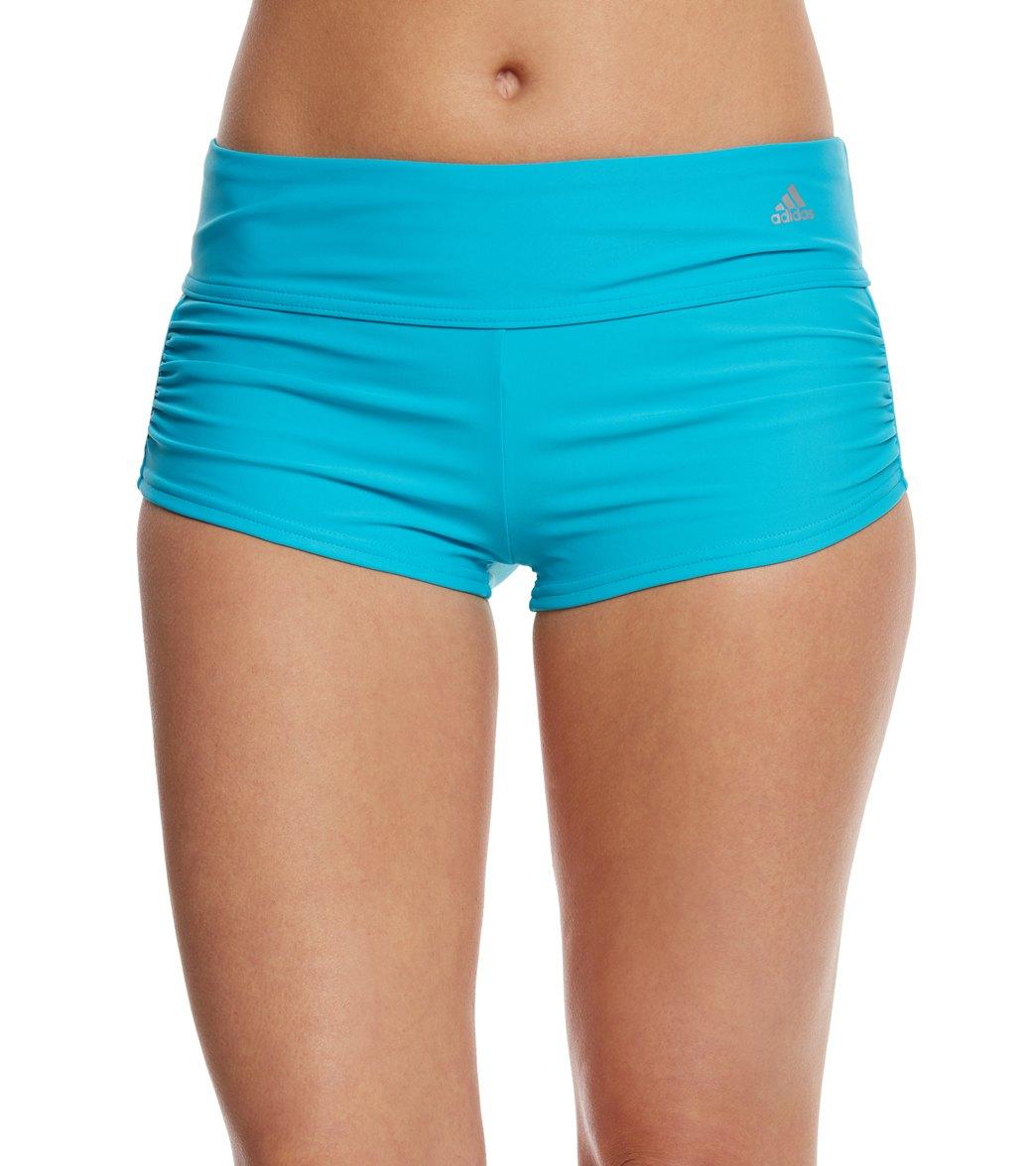 f34df68283c40 ... Adidas Women's Solid Start Shirred Swim Short. Play Video. MODEL  MEASUREMENTS