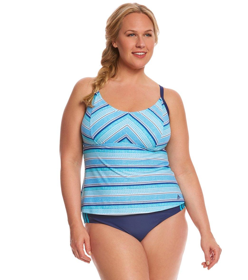 c4b8bc8c1ea65 Adidas Women's Stripe a Pose Tankini Top at SwimOutlet.com - Free ...