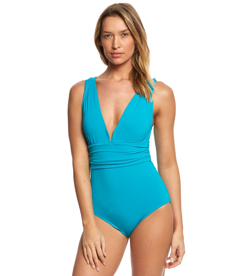 0f9f1c8506bcb Coco Reef Contours Keepsake Emerald Cut One Piece Swimsuit (B/C Cup ...