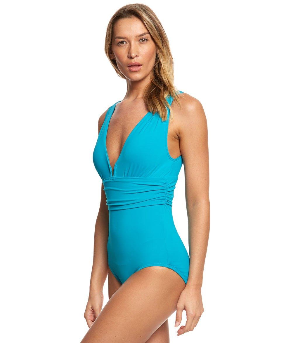 0f9f1c8506bcb Coco Reef Contours Keepsake Emerald Cut One Piece Swimsuit (B/C Cup ...