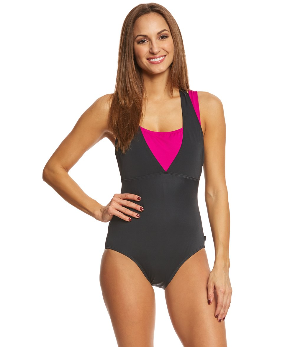 4d7941c8a0a8 Reebok Women s On the Double Chlorine Resistant One Piece Swimsuit