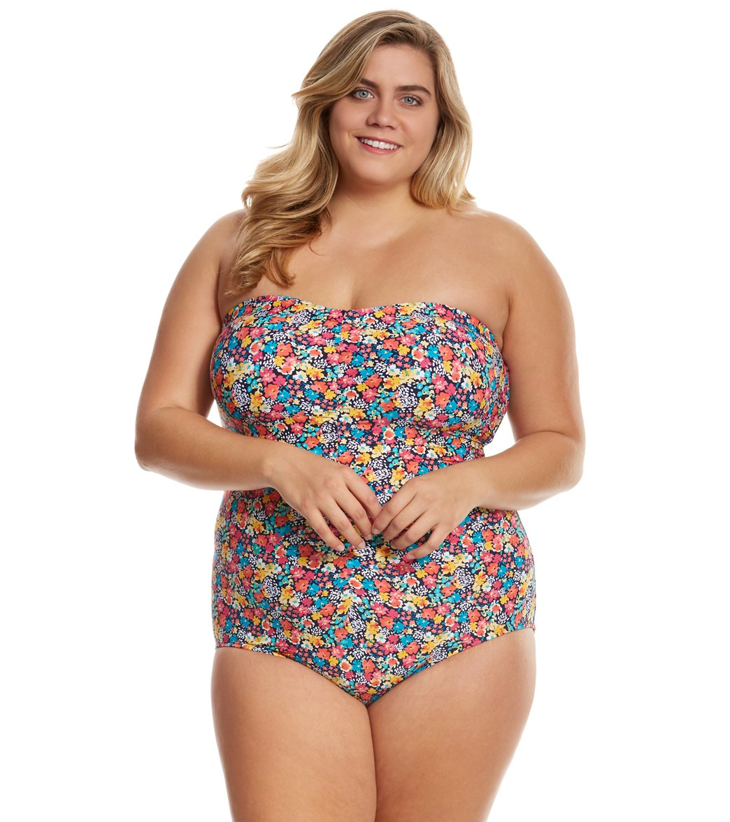 ab5653f1212 Anne Cole Signature Plus Size Budding Romance Shirred Bandeau One Piece  Swimsuit at SwimOutlet.com - Free Shipping