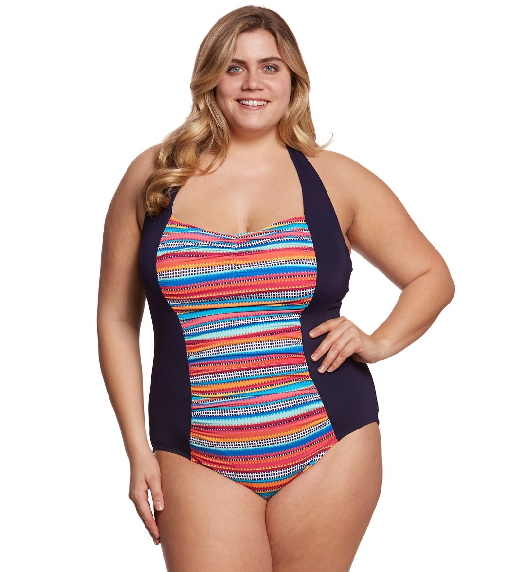 578c94b514c Anne Cole Signature Plus Size Triangle Stripe Halter One Piece Swimsuit at  SwimOutlet.com - Free Shipping