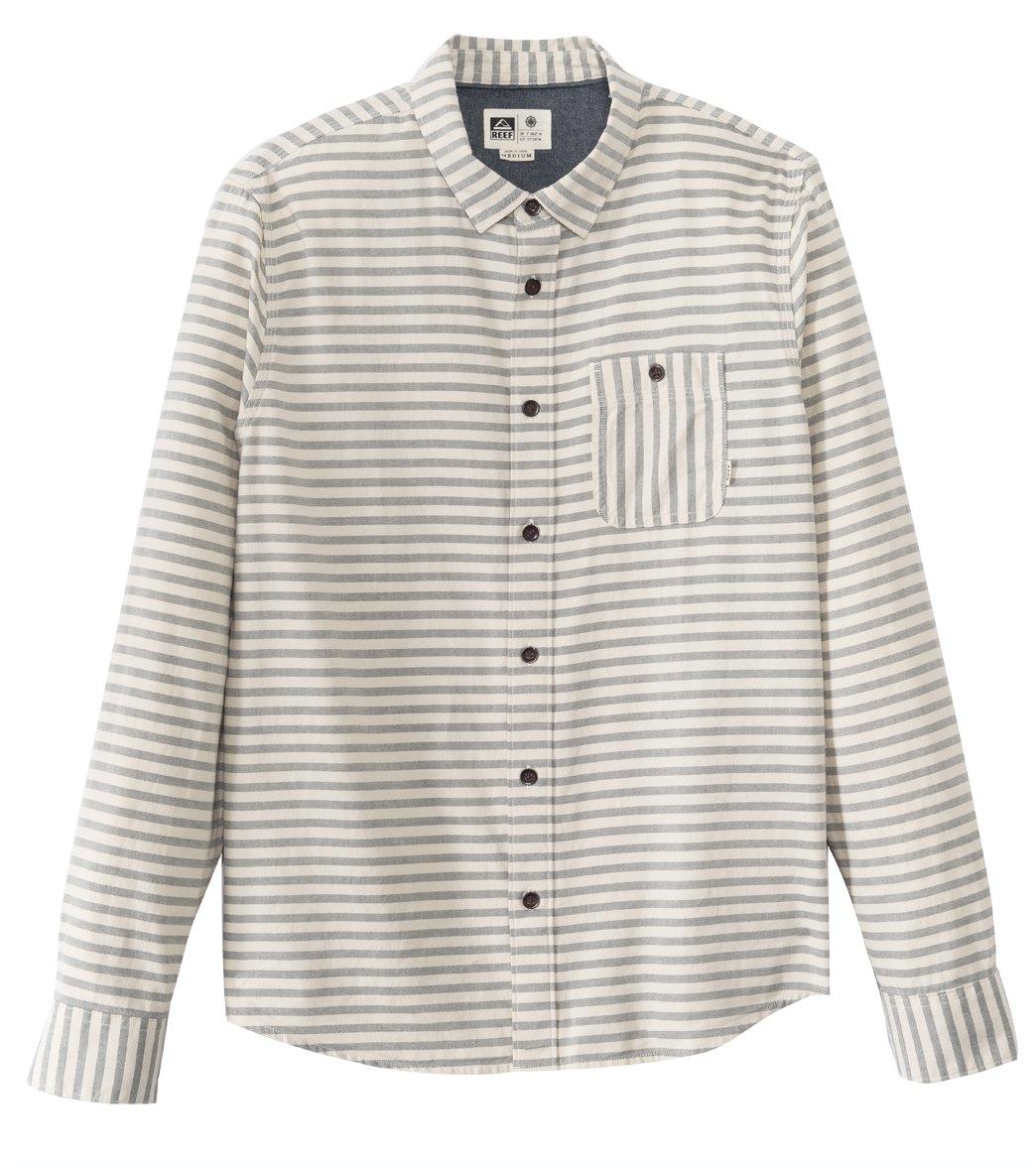 Reef Men's Gainsberg L/S Shirt - Natural Small Cotton - Swimoutlet.com