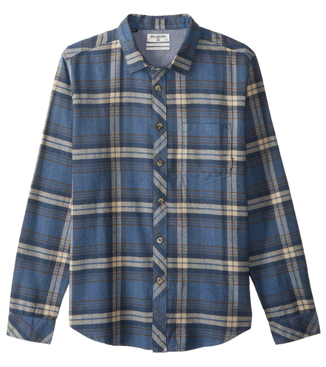 Billabong Mens Coastline Long Sleeve Flannel Shirt Blue Medium