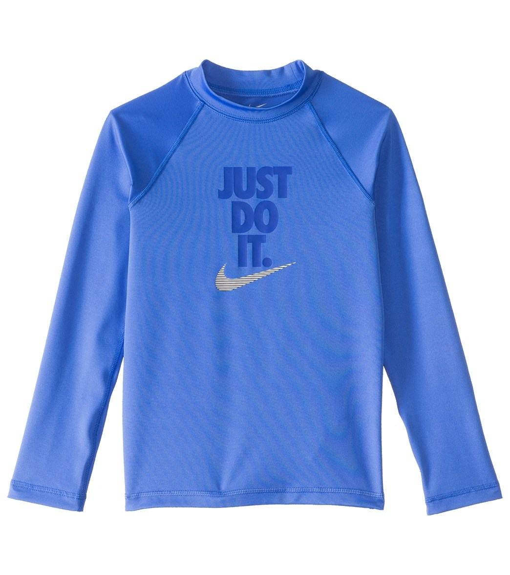 abe7d8df979 Nike Swimwear Girls' Just Do It Long Sleeve Hydro Top Rash Guard (7-14) at  SwimOutlet.com