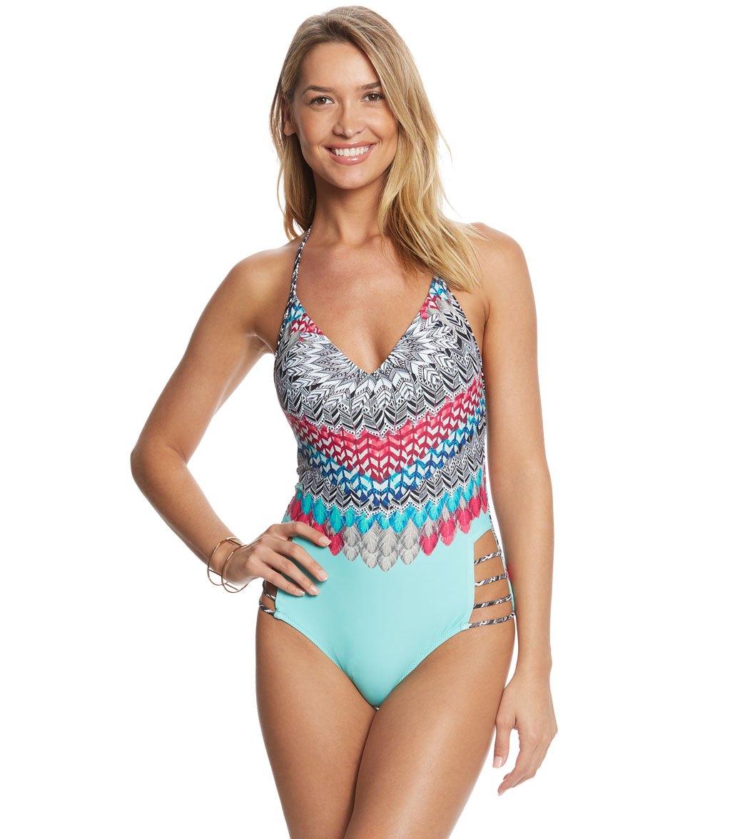 59a597aad971b ... Jessica Simpson Swimwear Dakota Placement Strap Back One Piece Swimsuit  Play Video. MODEL MEASUREMENTS