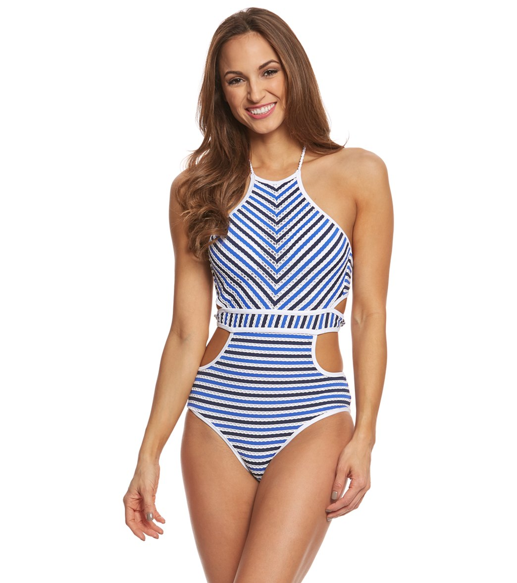 fd39068a3d7 Jessica Simpson Swimwear Maritime High Neck Monokini
