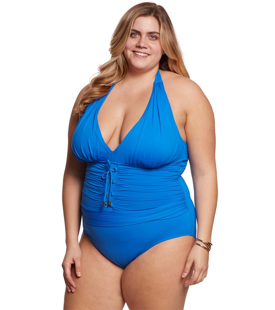 40e21192987 BLEU Rod Beattie Plus Size Cruise Control Halter One Piece Swimsuit ...