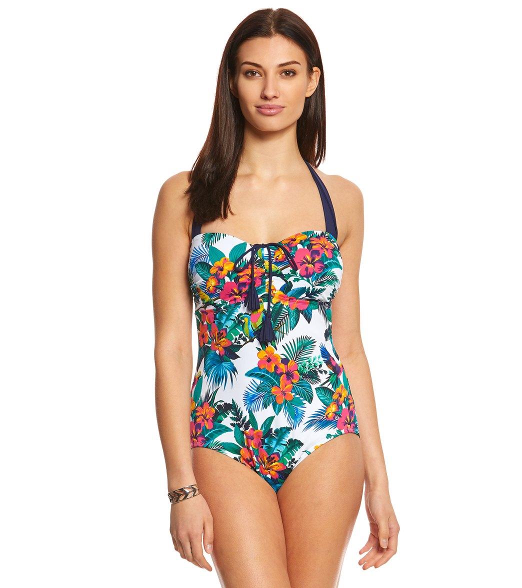 9eb17ce61ea3fc ... Tommy Bahama Jungle Flora Tie Front Halter One Piece Swimsuit. Play  Video. MODEL MEASUREMENTS