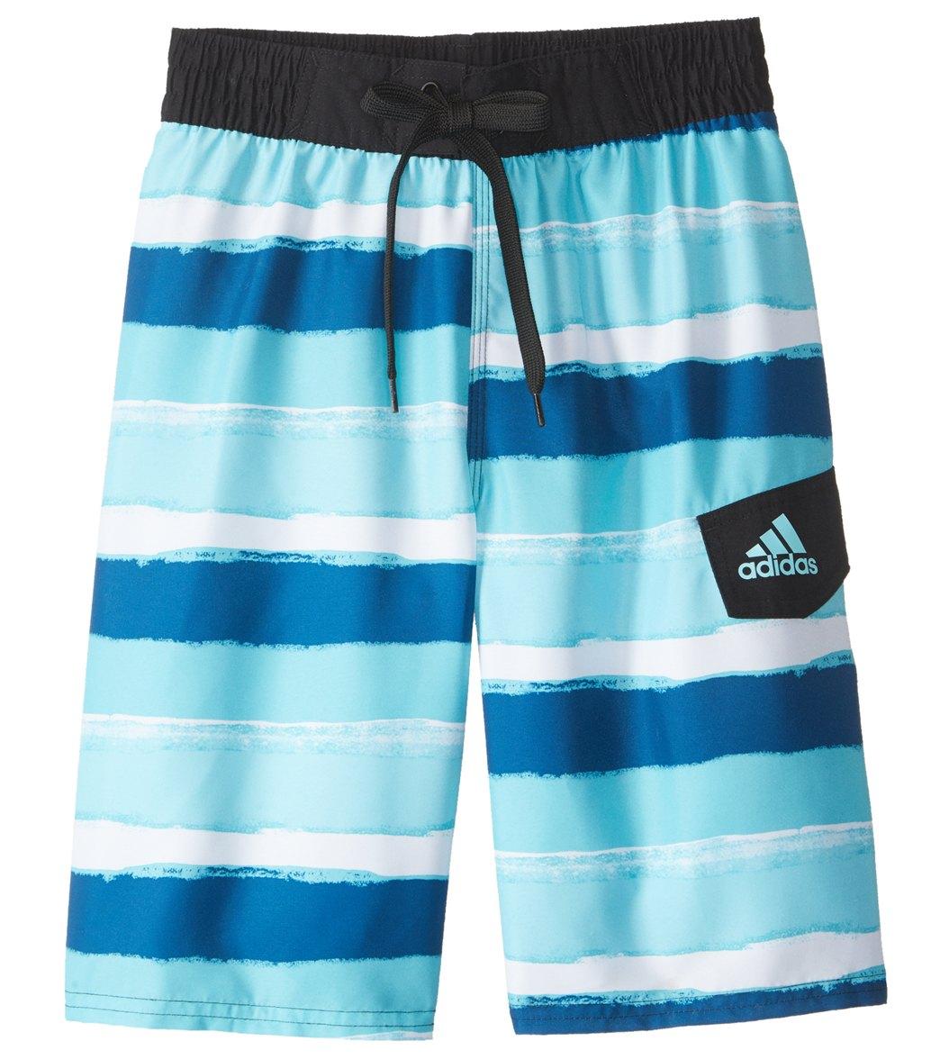 2cd01f6b38 Adidas Boys' Go On Stripe Swim Trunks (8-20) at SwimOutlet.com