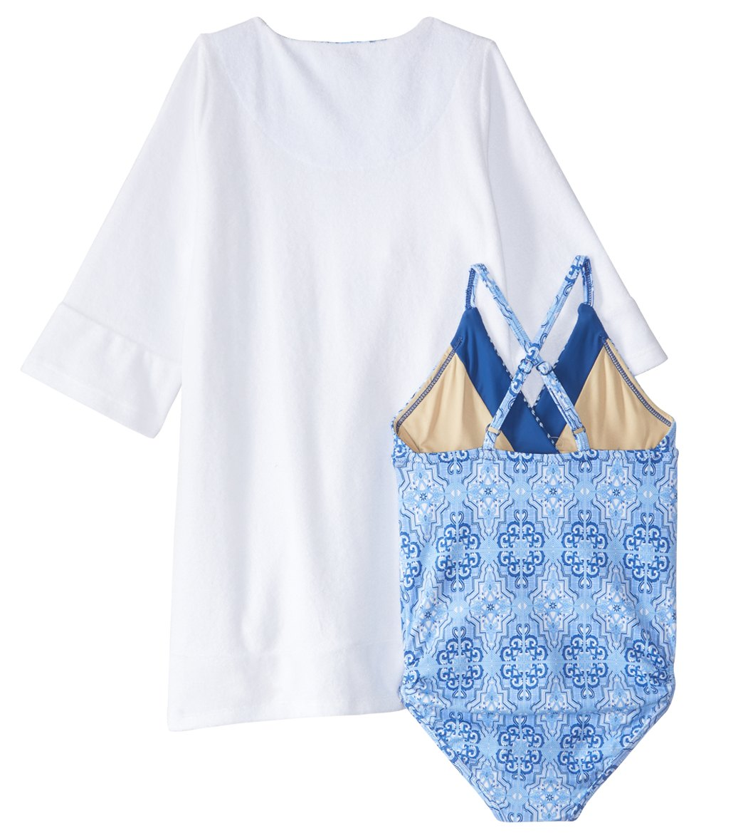 7bd9037321 Cabana Life Girls  UPF 50+ Moroccan Tile Swimsuit   Terry Cover Up Set (