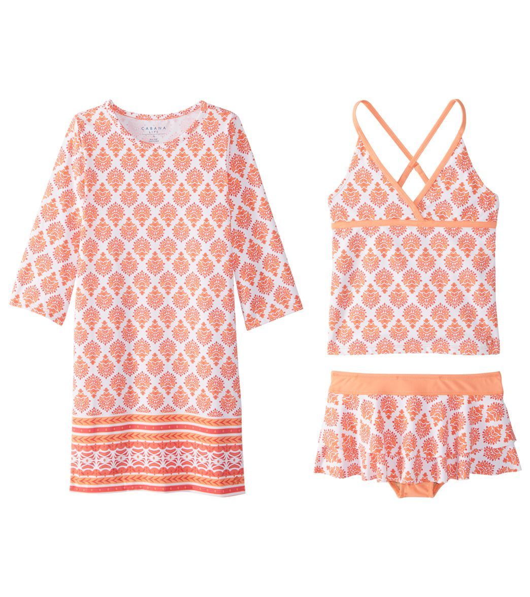 8009b0cfa2 Cabana Life Girls' UPF 50+ Nantucket Sound Swimsuit & Cover Up Set ...