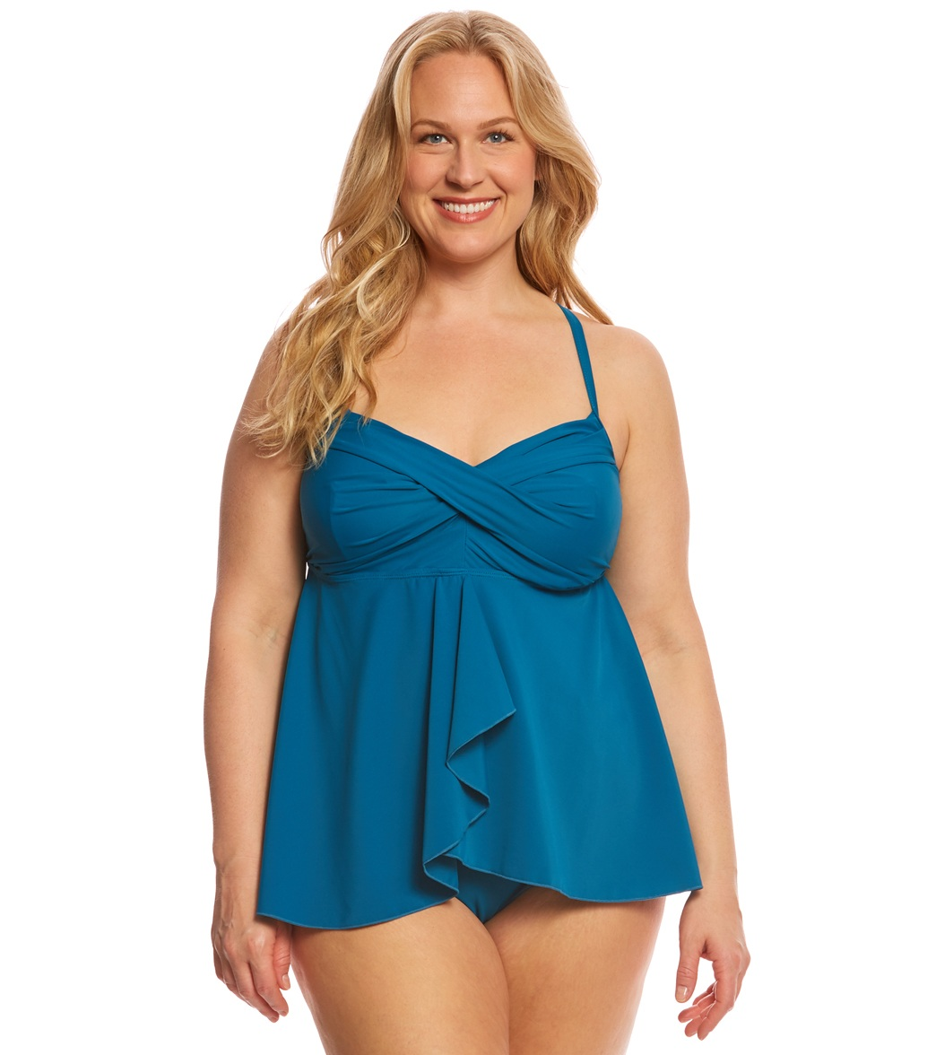 37acb5e85 ClubSwim Plus Size Twist Underwire Flyaway Tankini Top at SwimOutlet.com -  Free Shipping