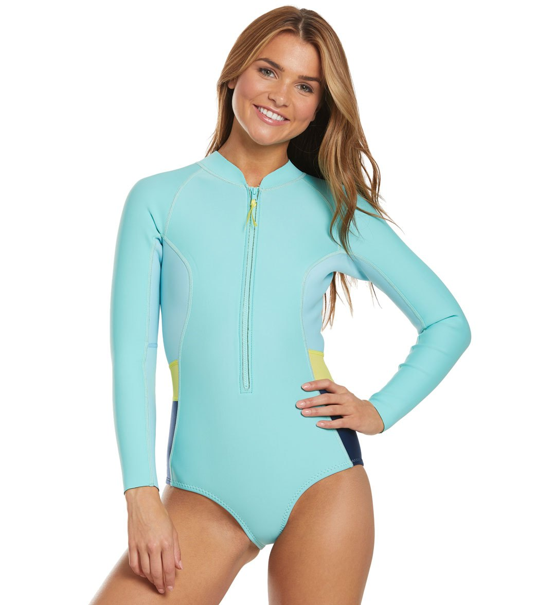 8096ef6f4ac Level Six Women's 1.2mm Neoprene Mystique Front Zip Long Sleeve One Piece  Swimsuit at SwimOutlet.com - Free Shipping