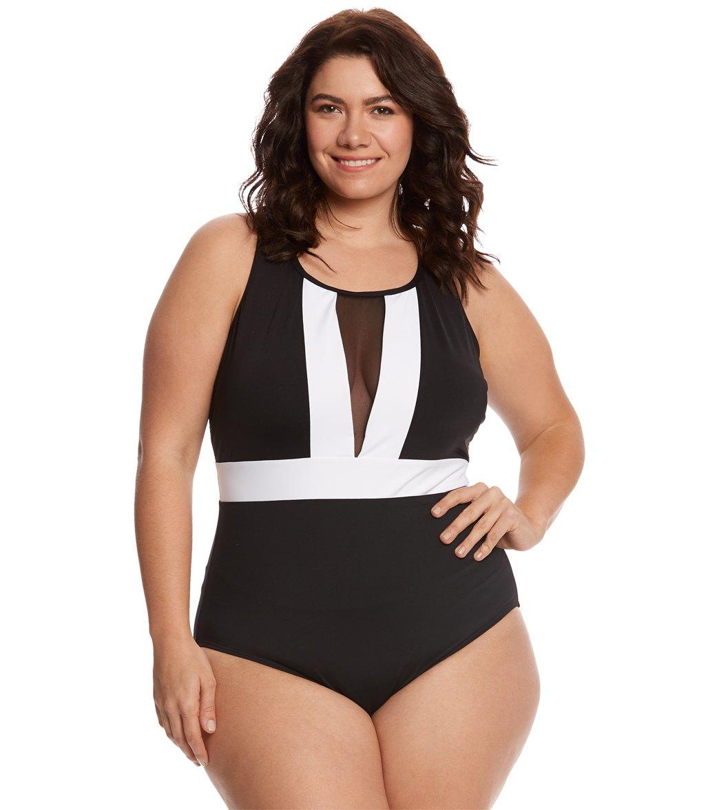 d2869cab84 La Blanca Plus Size Block My Way Plunge One Piece Swimsuit at ...