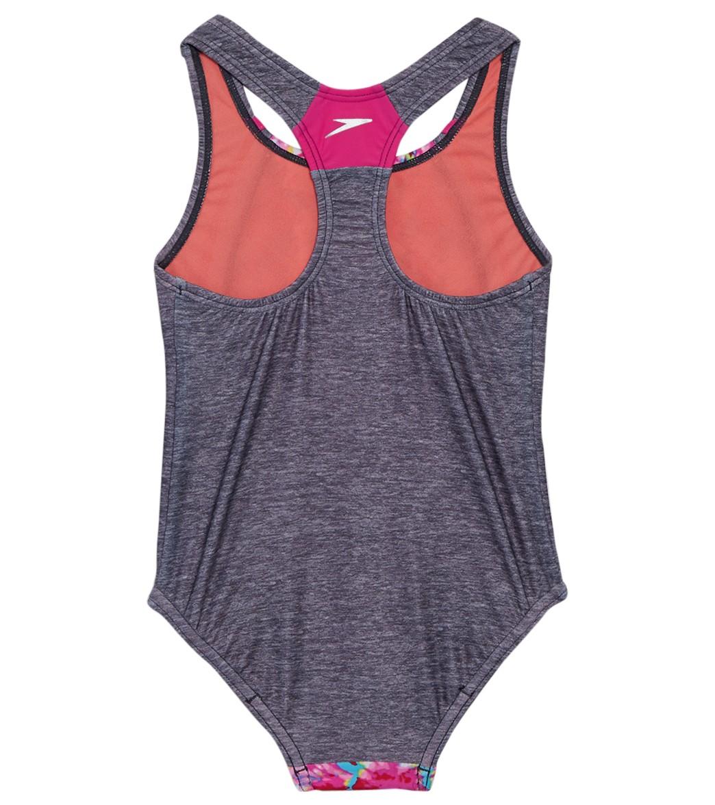 7f2dca1d13c Speedo Girls' Tie Dye Sky Sport Splice One Piece Swimsuit (4-6X) at  SwimOutlet.com