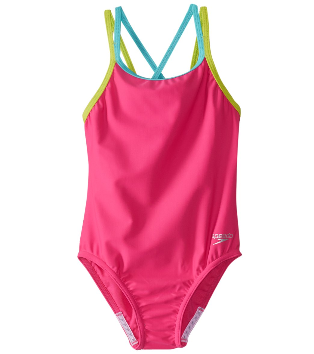 14484d2182a8a Speedo Girls' Crossback One Piece Swimsuit (7-16) at SwimOutlet.com