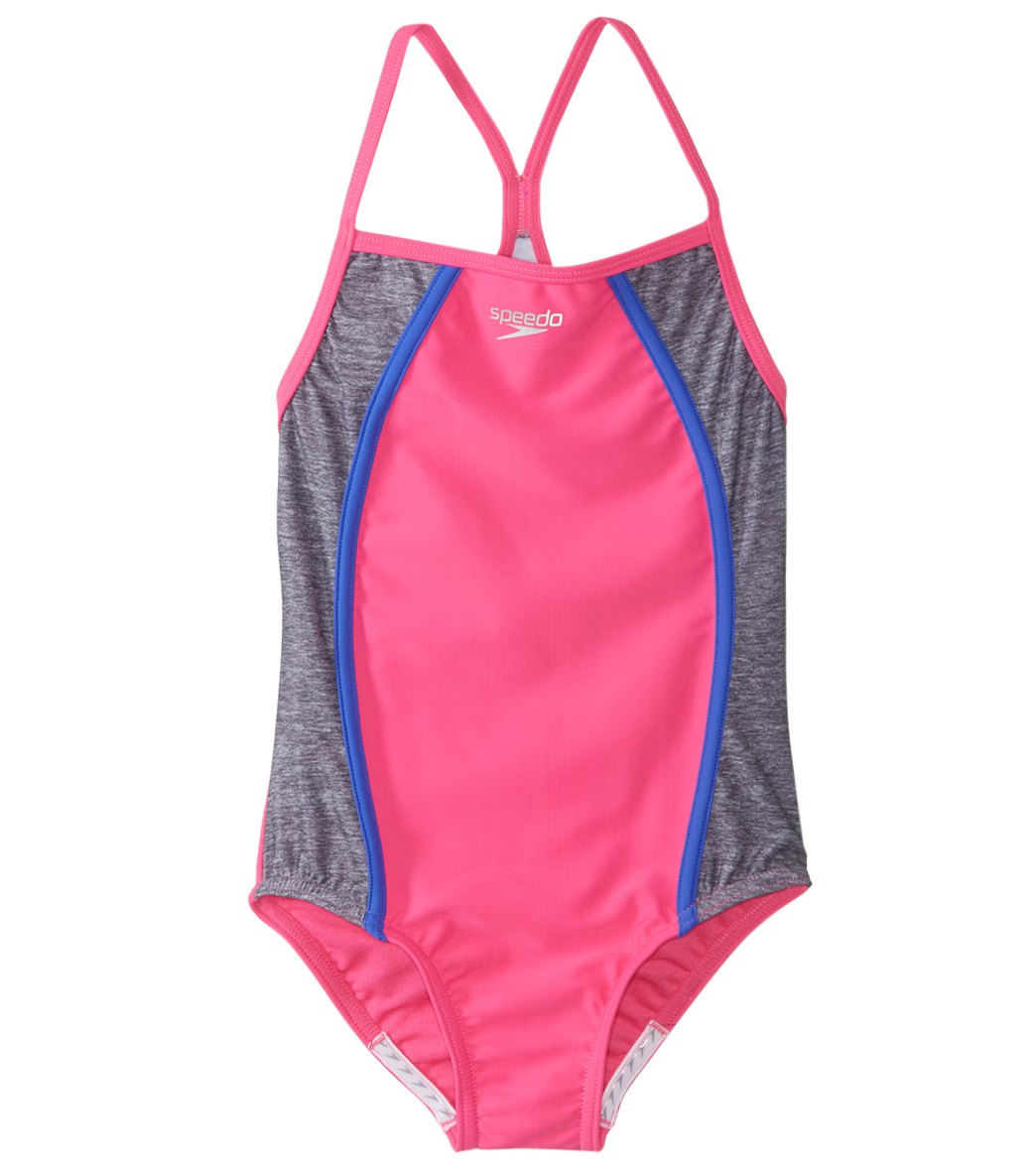 fd6a24675ed07 Speedo Girls' Heather Splice One Piece Swimsuit (7-16) at SwimOutlet.com