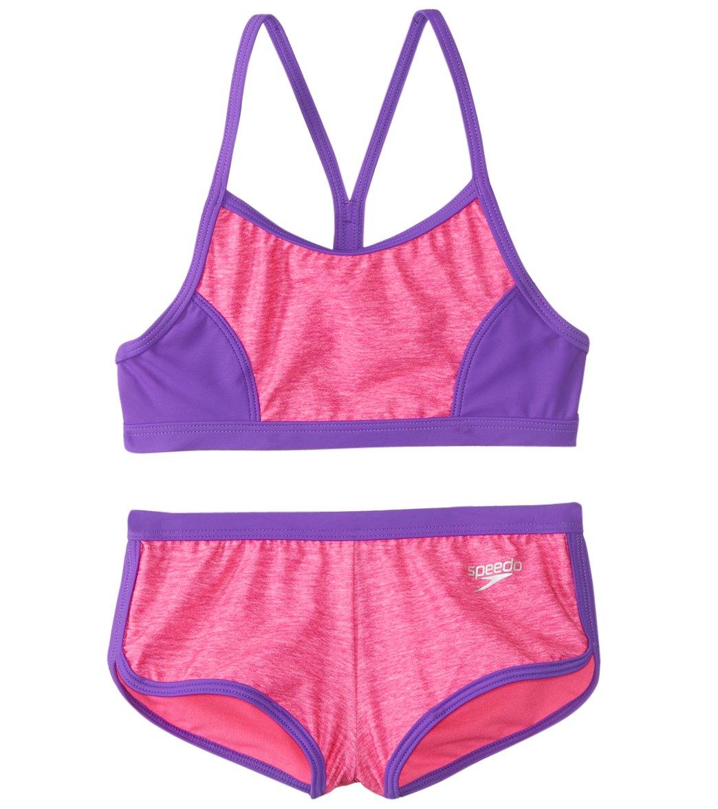 0edc3d4c1da34 Speedo Girls' Heather Splice Boyshort Two Piece Bikini Set (7-16) at  SwimOutlet.com