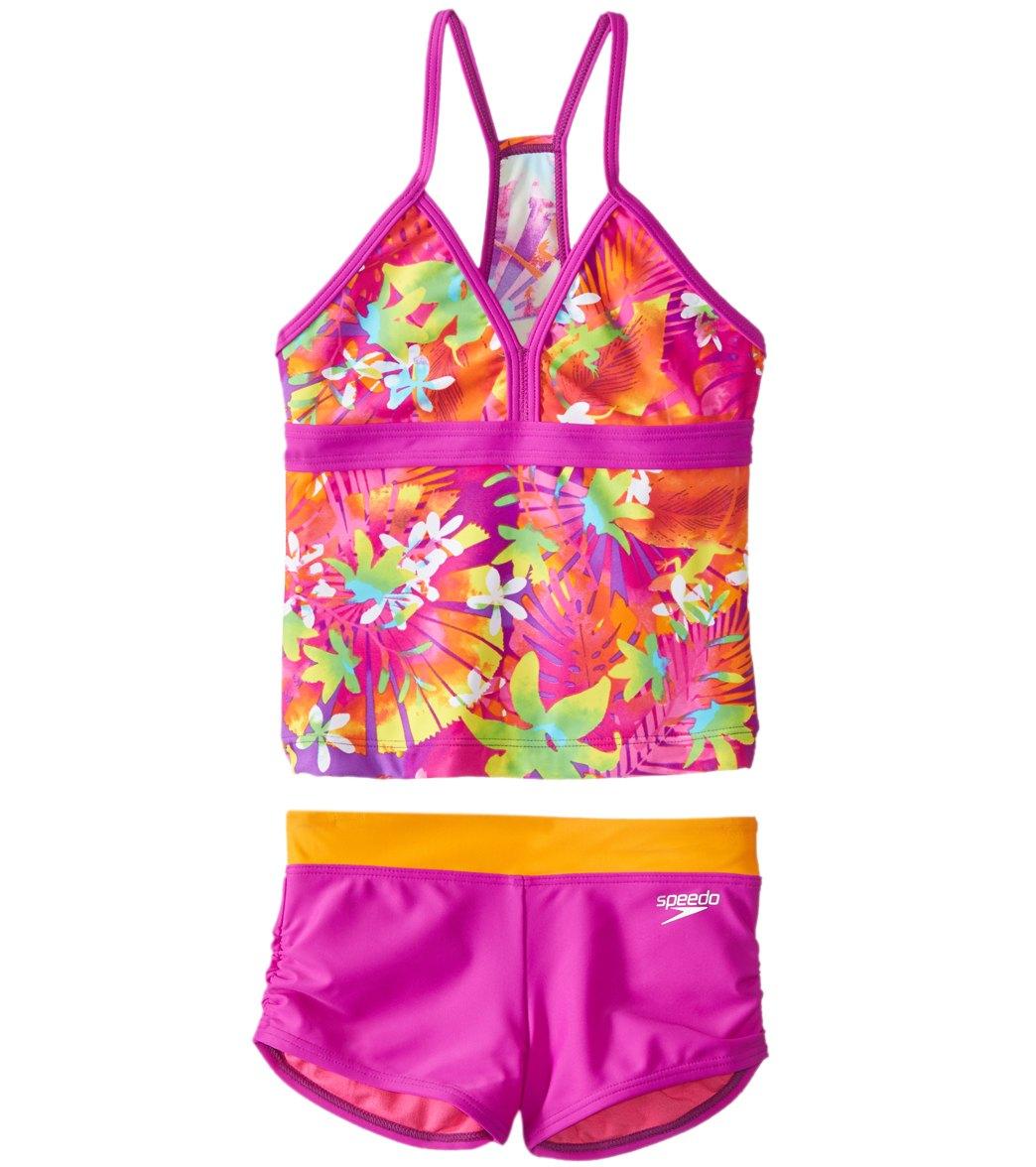 778777081a Speedo Girls  Jungle Floral Two Piece Boyshort Tankini Set (7-16) at  SwimOutlet.com