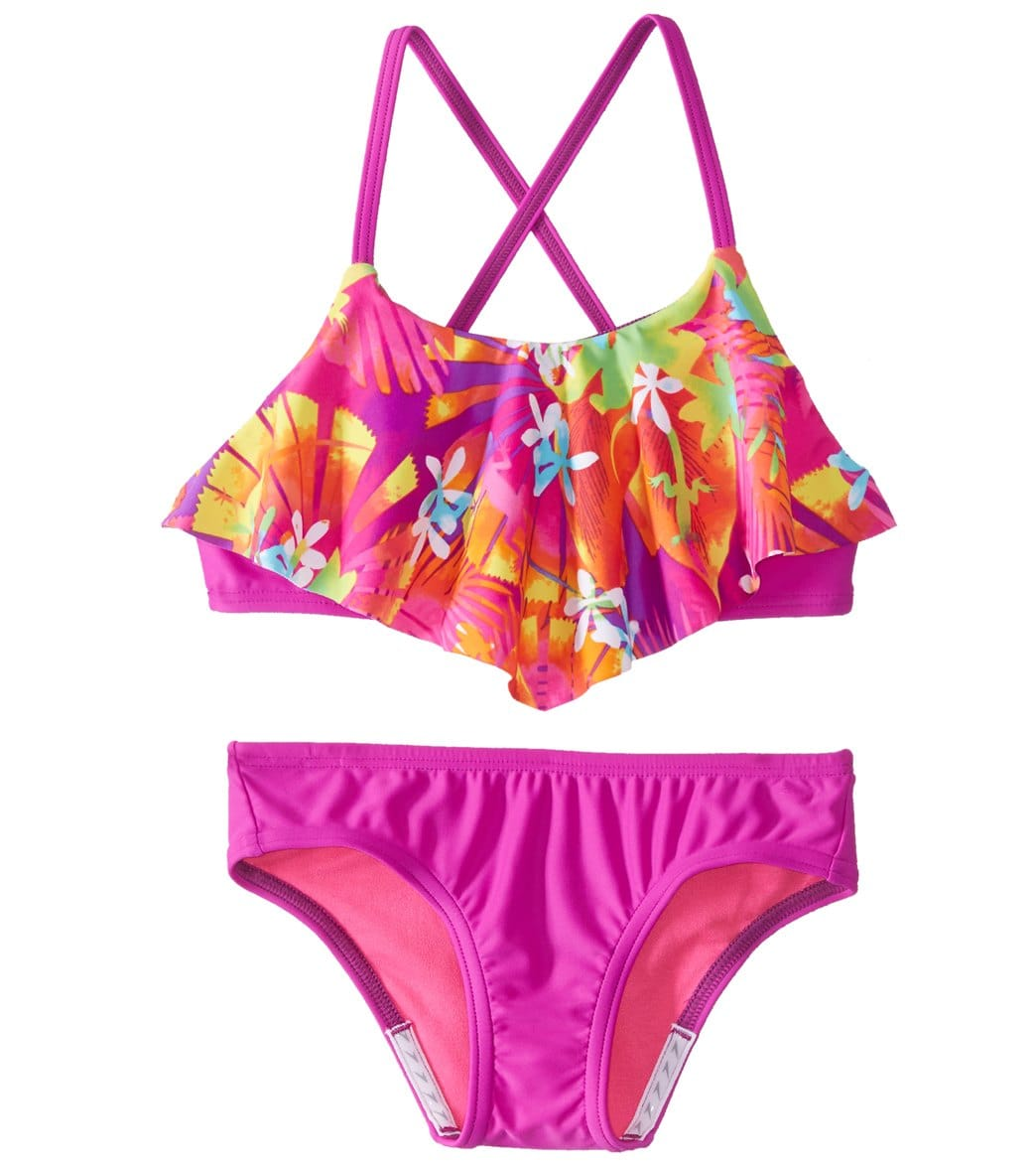 8a181f71bc Speedo Girls' Jungle Floral Ruffle Two Piece Bikini Set (7-16) at  SwimOutlet.com