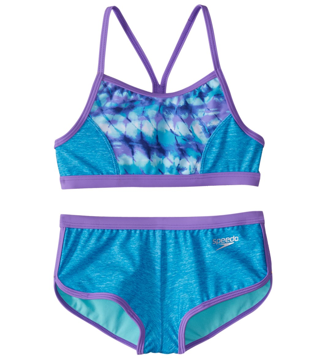 fec1d71f72 Speedo Girls' Digi Zig Zag Heather Two Piece Boyshort Bikini Set (7-16)