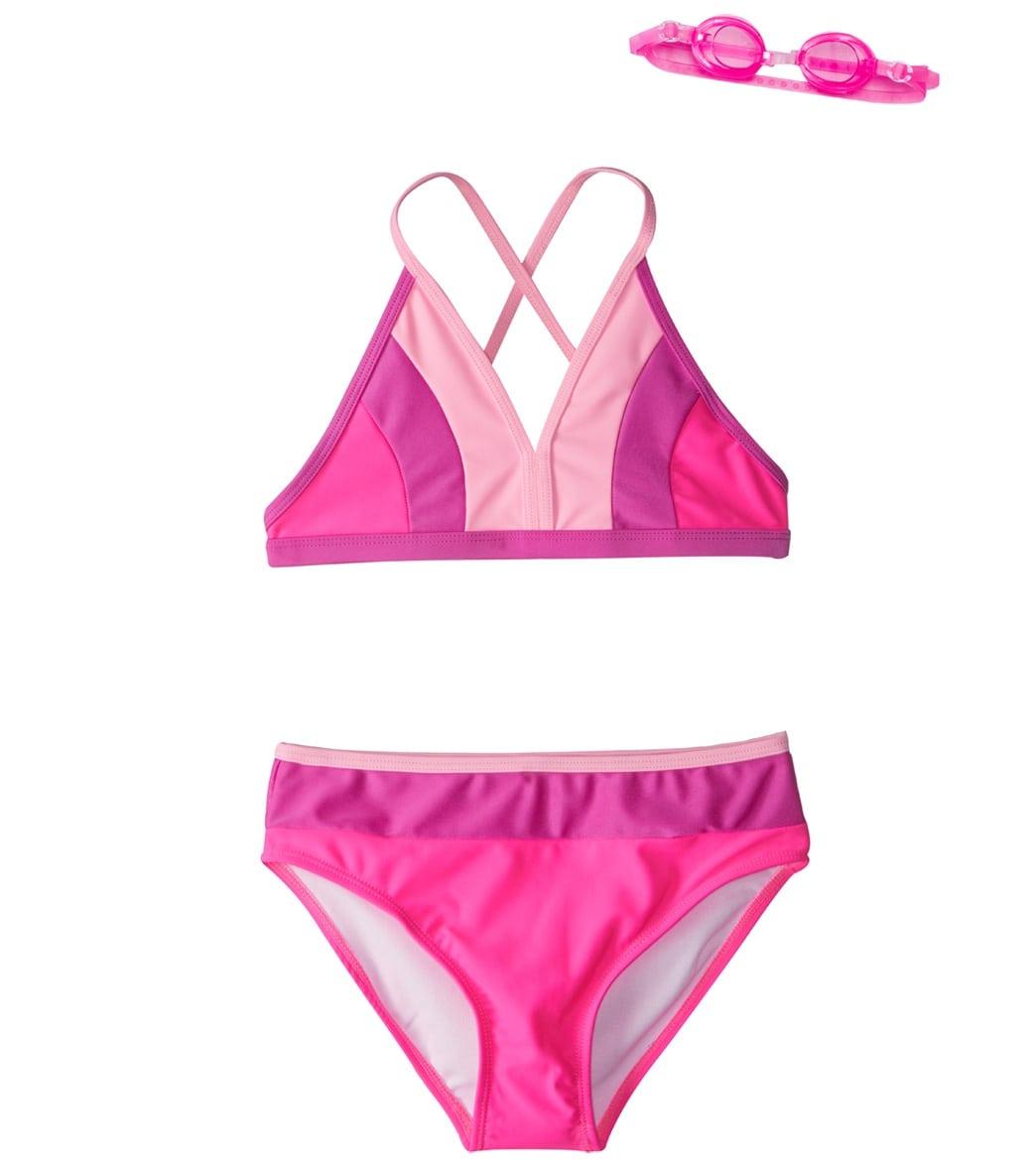 fec6486ef9 Jump N Splash Girls  Artist Color Block Bikini Set w Free Goggles (7 ...