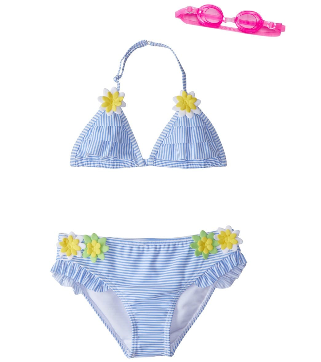 72a27f8ef9 Jump N Splash Girls  Doll Face Blue Striped Bikini Set w Free Goggles (