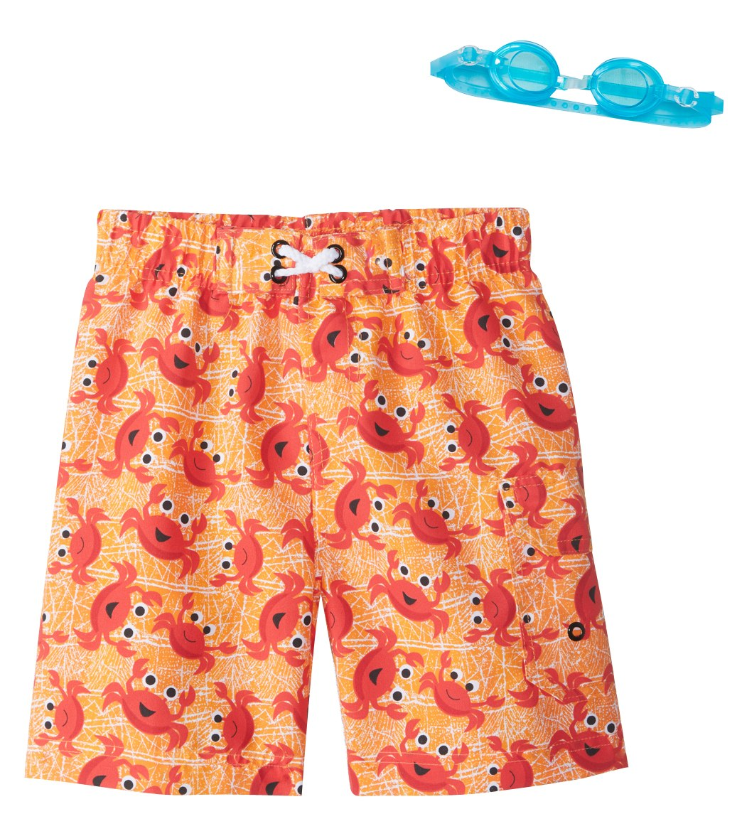 4ae017da80 Jump N Splash Boys' Little Scientist Crab Swim Trunks w/Free Goggles (5-7)  at SwimOutlet.com