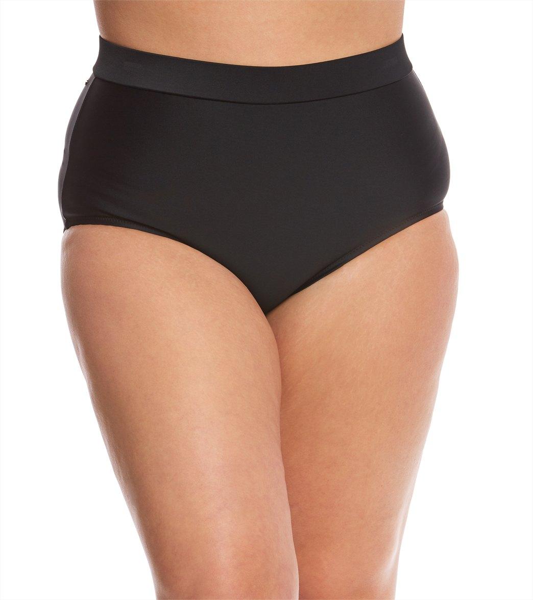f1d6376750c Raisins Curve Plus Size Flamingo Solids Island High Waist Bikini Bottom at  SwimOutlet.com