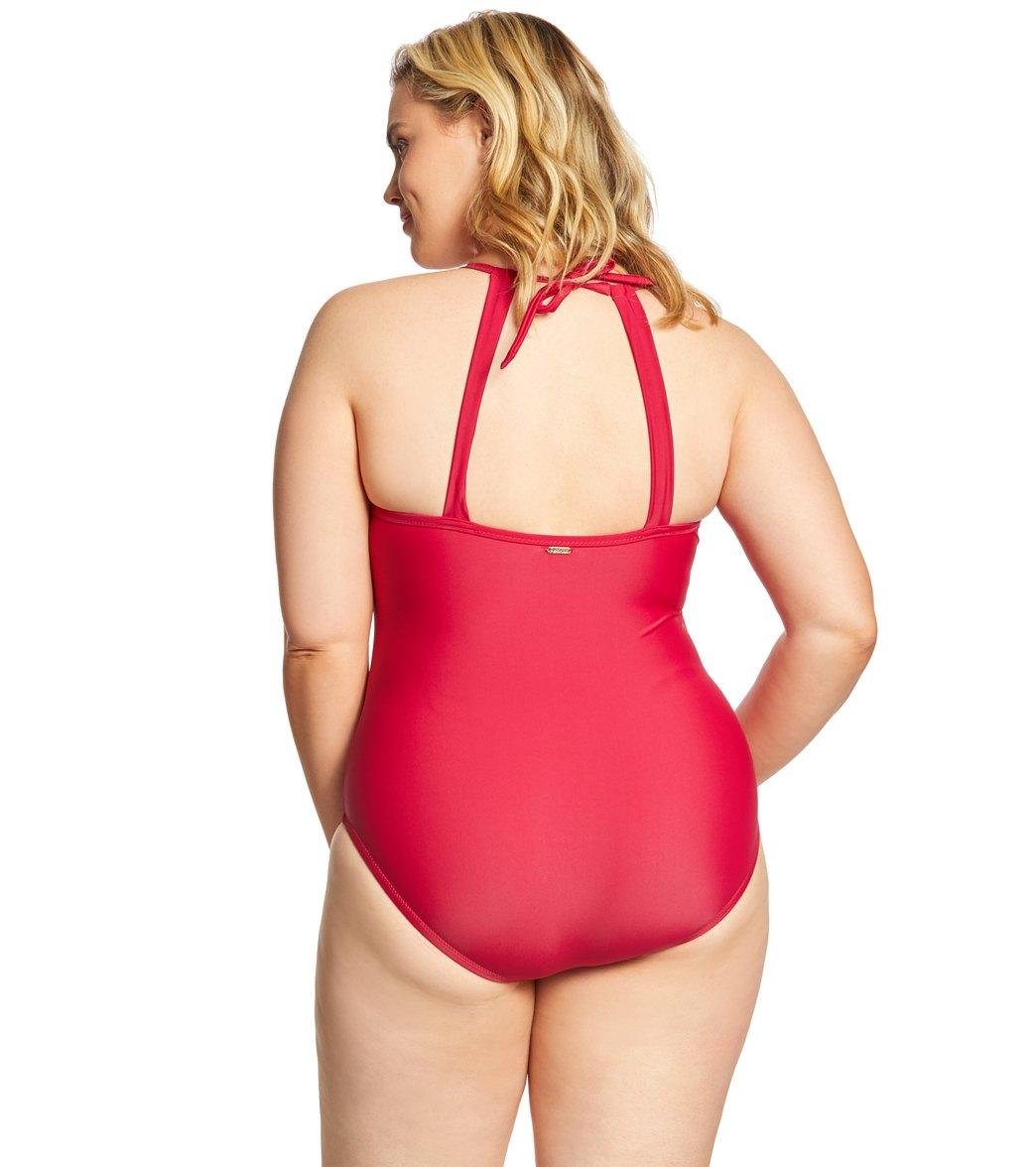 3569abcfa7d Raisins Curve Plus Size Flamingo Solids Lotus One Piece Swimsuit at ...