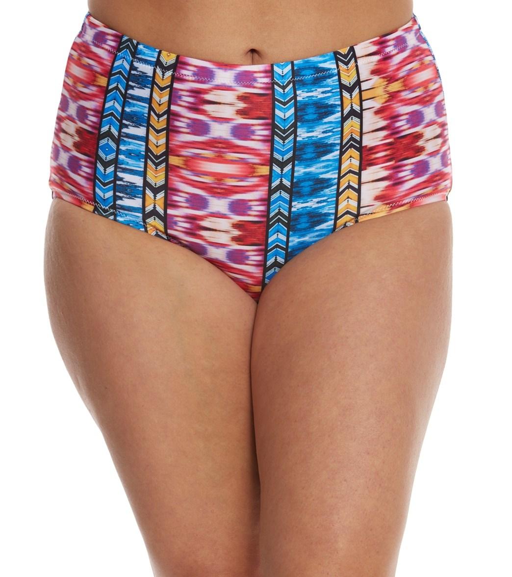 4dcf4f4582a Raisins Curve Plus Size Around The World Shoreline High Waist Bikini Bottom  at SwimOutlet.com