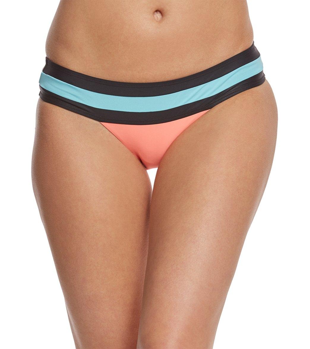 1afc3bc2098 PilyQ Swimwear Coral Banded Color Block Teeny Bikini Bottom at  SwimOutlet.com - Free Shipping