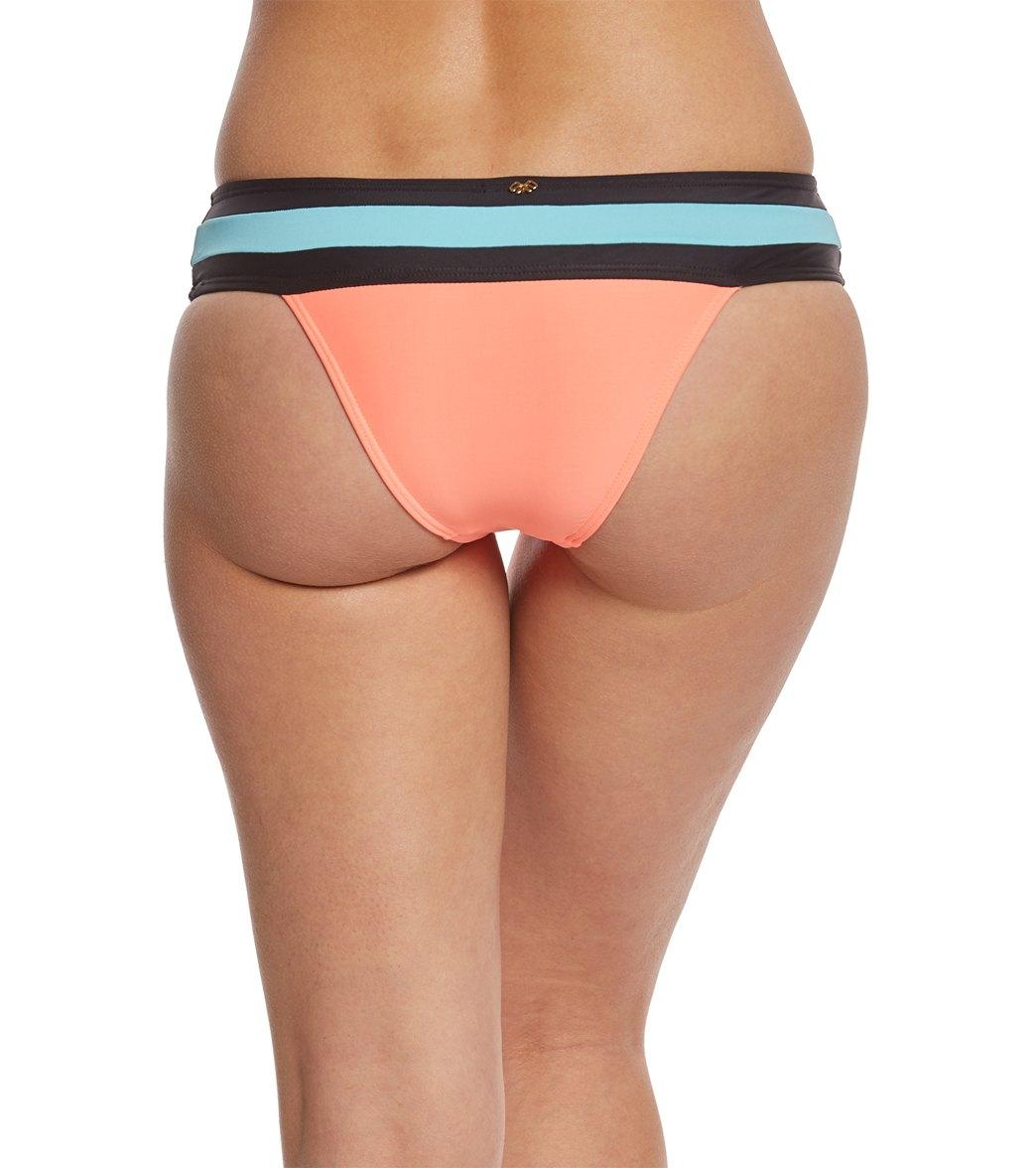fe0a5ffb2ef PilyQ Swimwear Coral Banded Color Block Teeny Bikini Bottom at ...