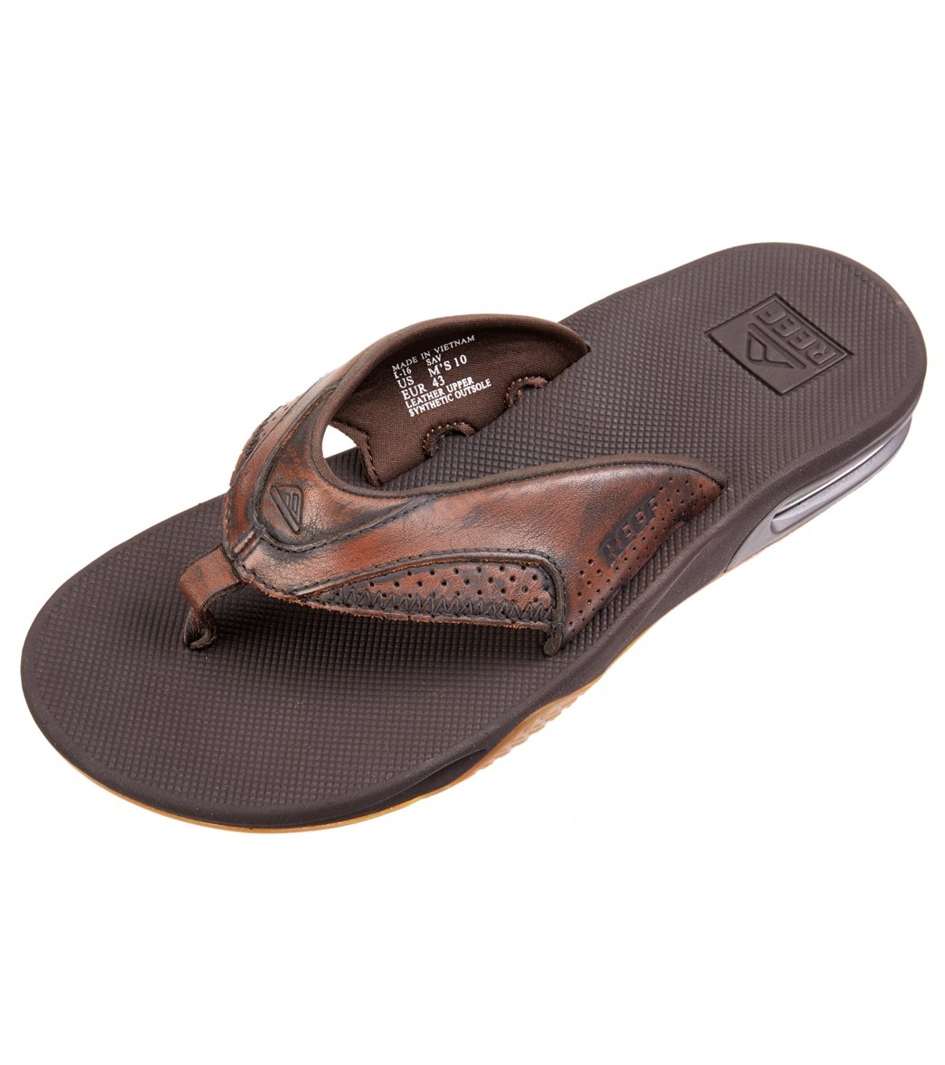 371a1a4f210 Reef Men s Leather Fanning Lux Flip Flop at SwimOutlet.com - Free ...