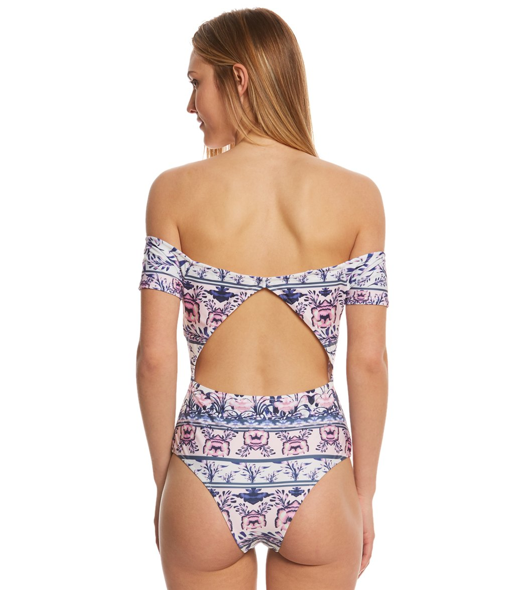 fbaaf03449 MINKPINK Mozambique Off Shoulder One Piece Swimsuit at SwimOutlet ...