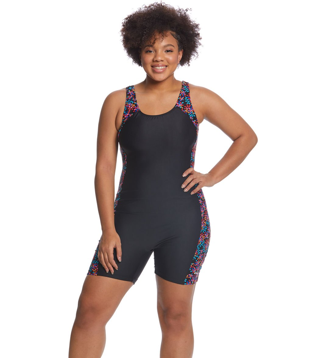 Waterpro Women s Plus Size Floral Burst Splice Unitard at SwimOutlet.com -  Free Shipping 7d4bbf41a