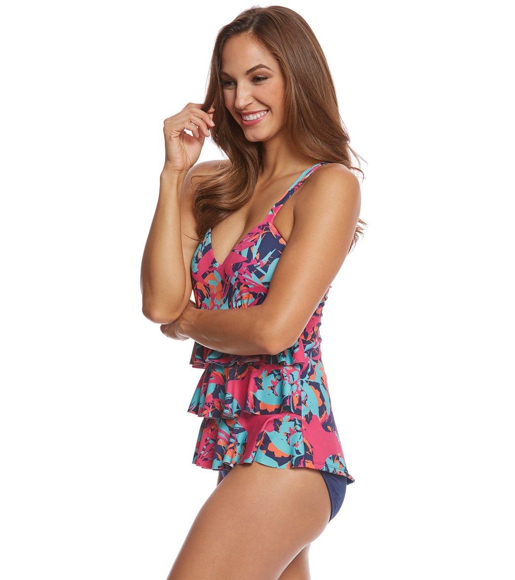 768a51da83c70 Dolfin Aquashape Women's Eden Ruffle Tier One Piece Swimsuit at ...