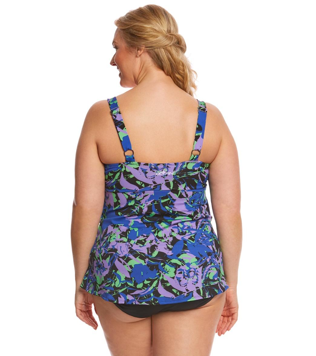 c81d1be7e8 Dolfin Aquashape Women's Plus Size Eden Ruffle Tier One Piece Swimsuit
