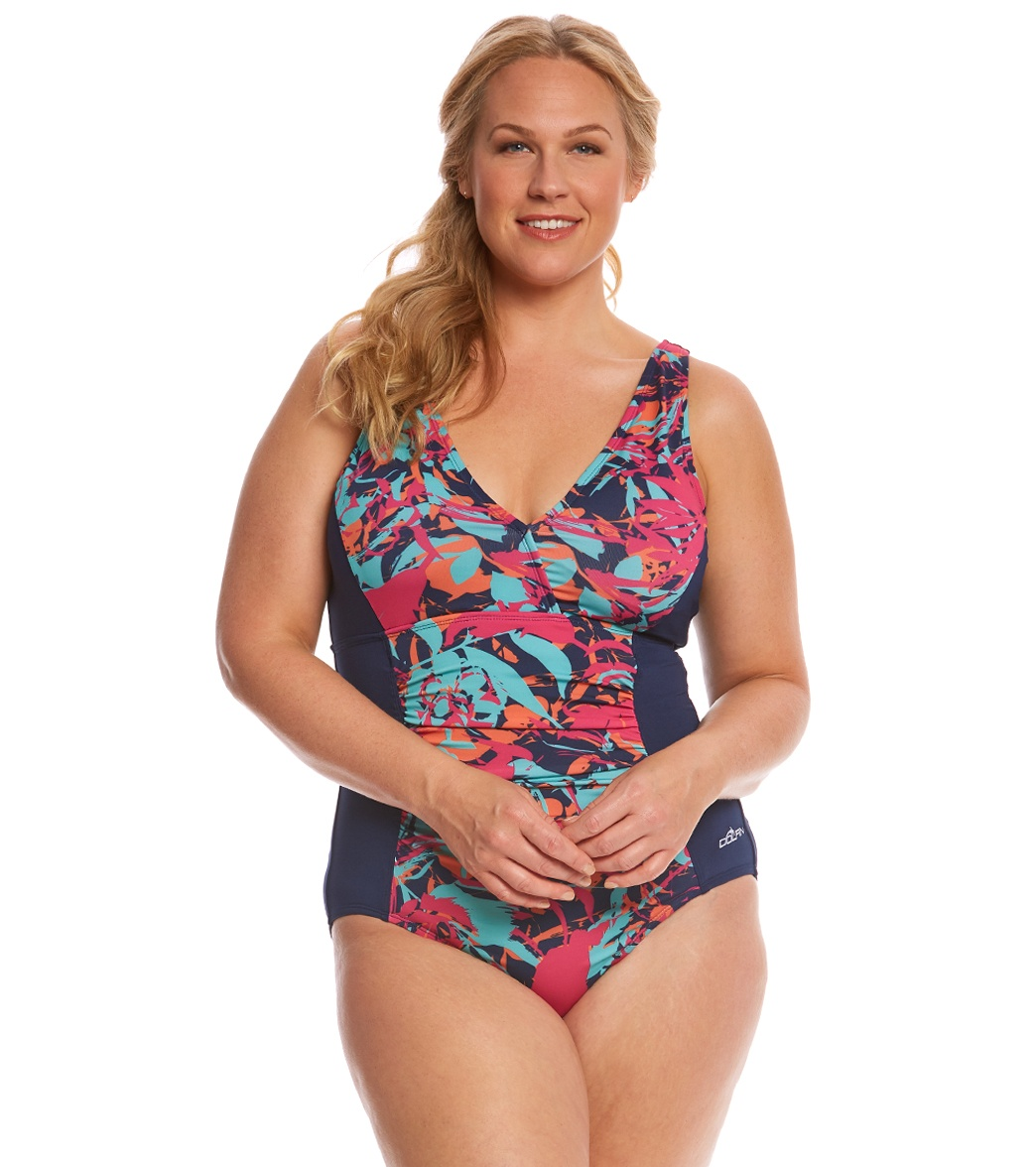 c5e675c263d07 ... Dolfin Aquashape Women s Plus Size Eden Shirred One Piece Swimsuit.  MODEL MEASUREMENTS
