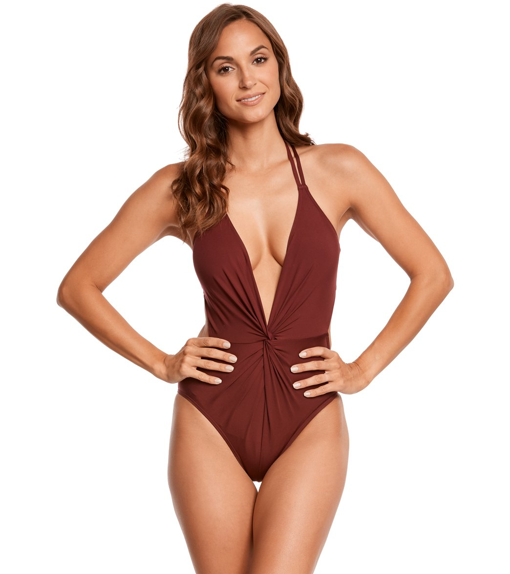8094a2181d8e5 Kenneth Cole Sexy Solids Twist Plunge Halter One Piece Swimsuit at  SwimOutlet.com - Free Shipping