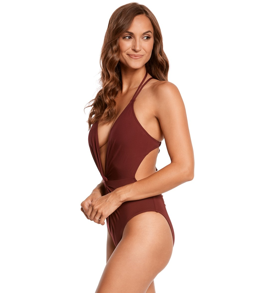 b72e9a435179d Kenneth Cole Sexy Solids Twist Plunge Halter One Piece Swimsuit at ...