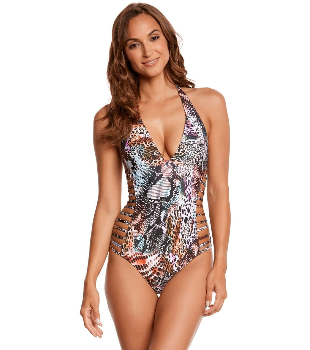 4e7e188d735 Kenneth Cole Pure Instincts Halter One Piece Swimsuit at SwimOutlet.com -  Free Shipping
