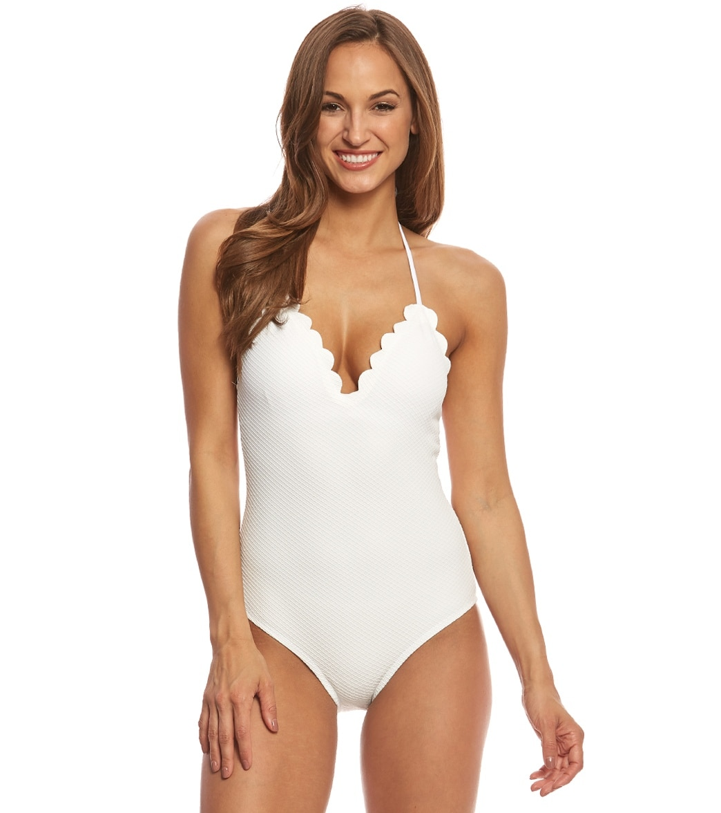 2cf026c6b7984 Jessica Simpson Under the Sea Scalloped Edge Halter One Piece Swimsuit at  SwimOutlet.com - Free Shipping
