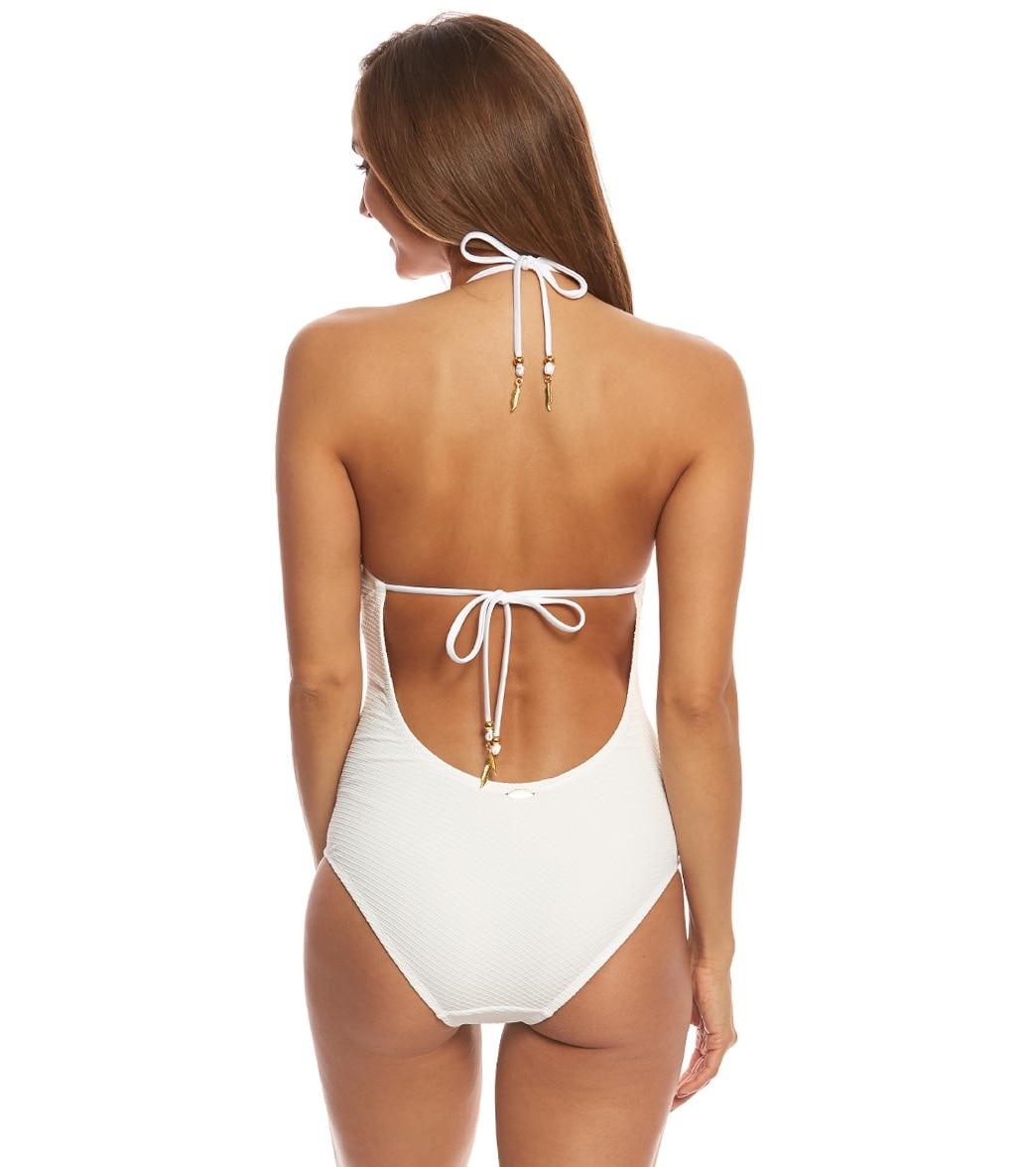 fce1342072e Jessica Simpson Swimwear Under the Sea Scalloped Edge Halter One Piece  Swimsuit