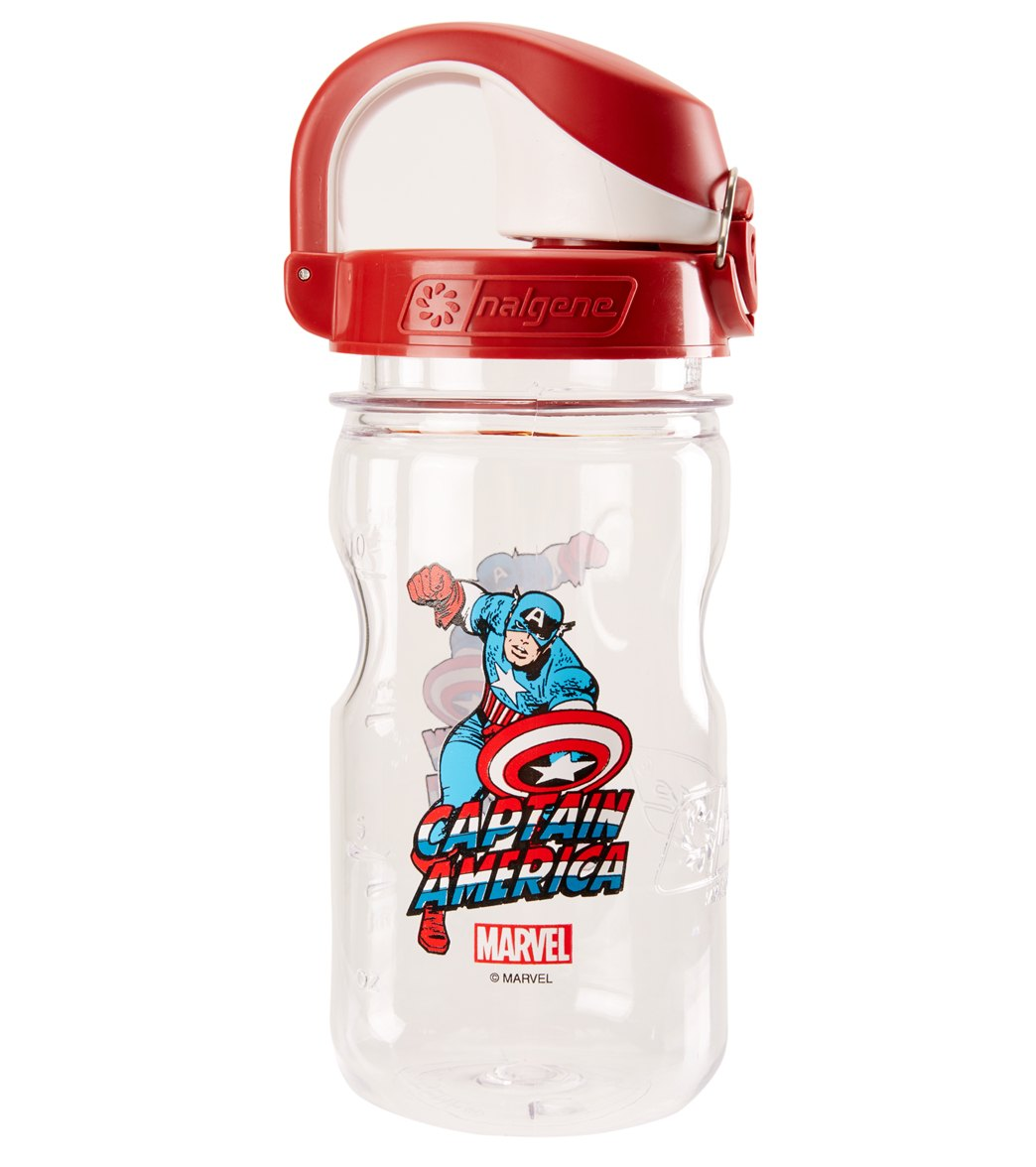 Clear//Red,Marvel CAPTAIN AMERICA Nalgene Kids On the Fly 12 oz Water Bottle