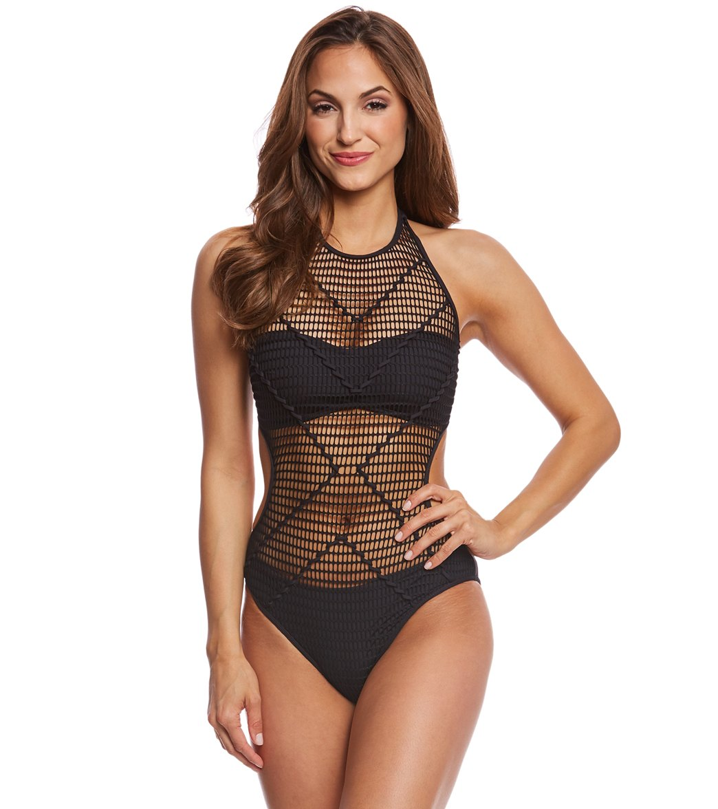 183b59c74a Kenneth Cole Wrapped In Love High Neck One Piece Swimsuit at SwimOutlet.com  - Free Shipping
