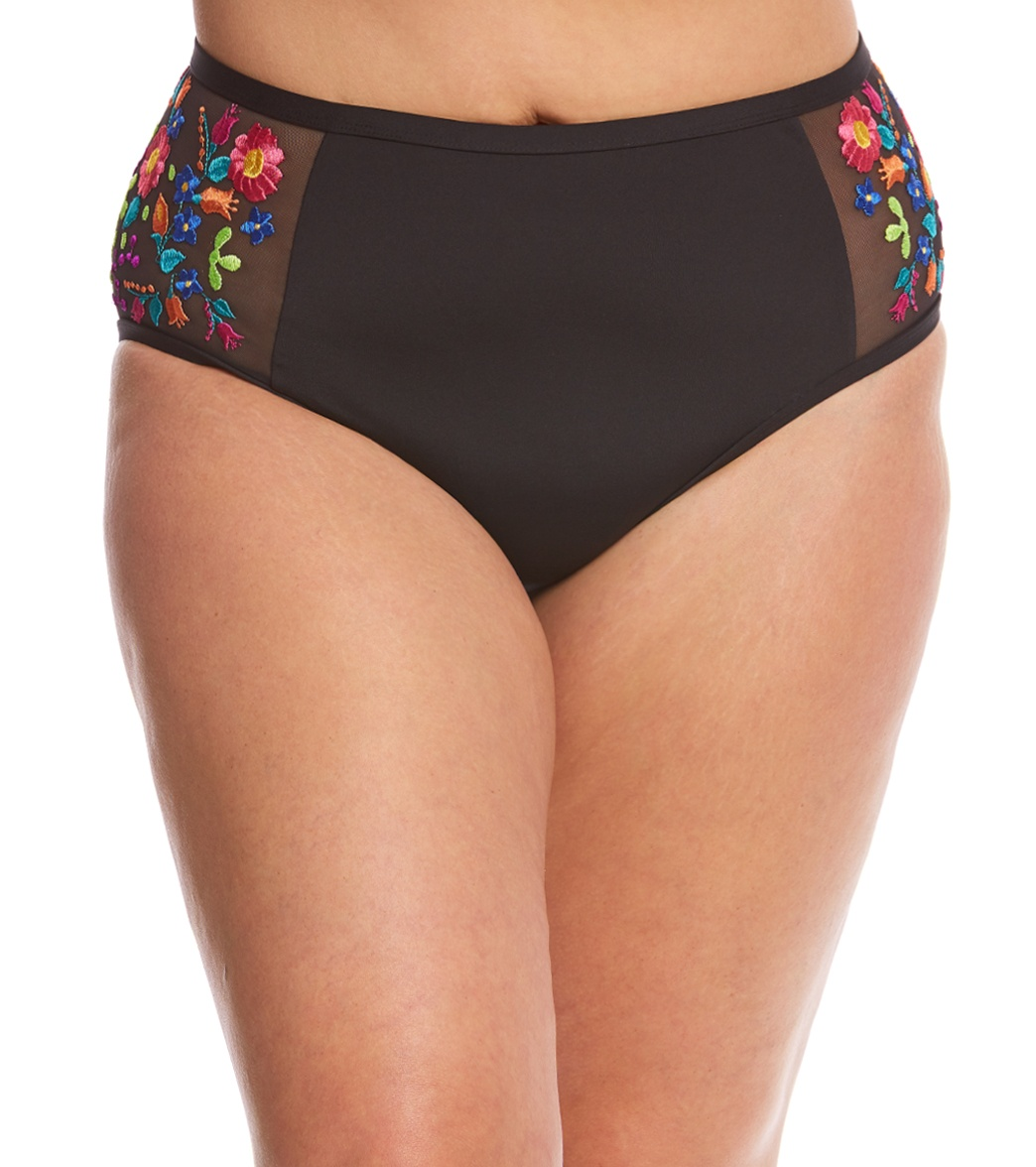 845ca9ae229 ... Kenneth Cole Reaction Plus Size Garden Groove High Waist Bikini Bottom.  MODEL MEASUREMENTS